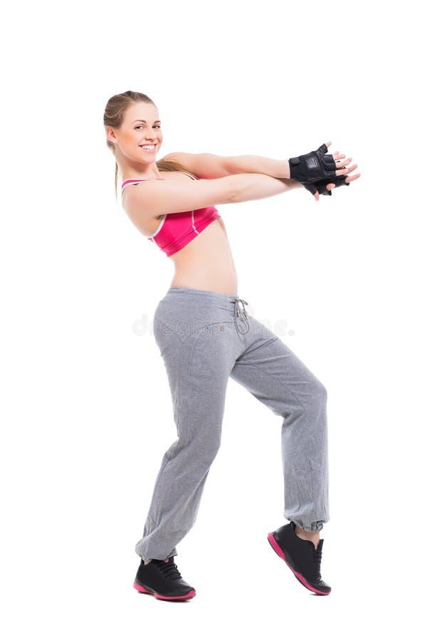 Donna bionda sportiva allegra immagini stock libere da diritti
