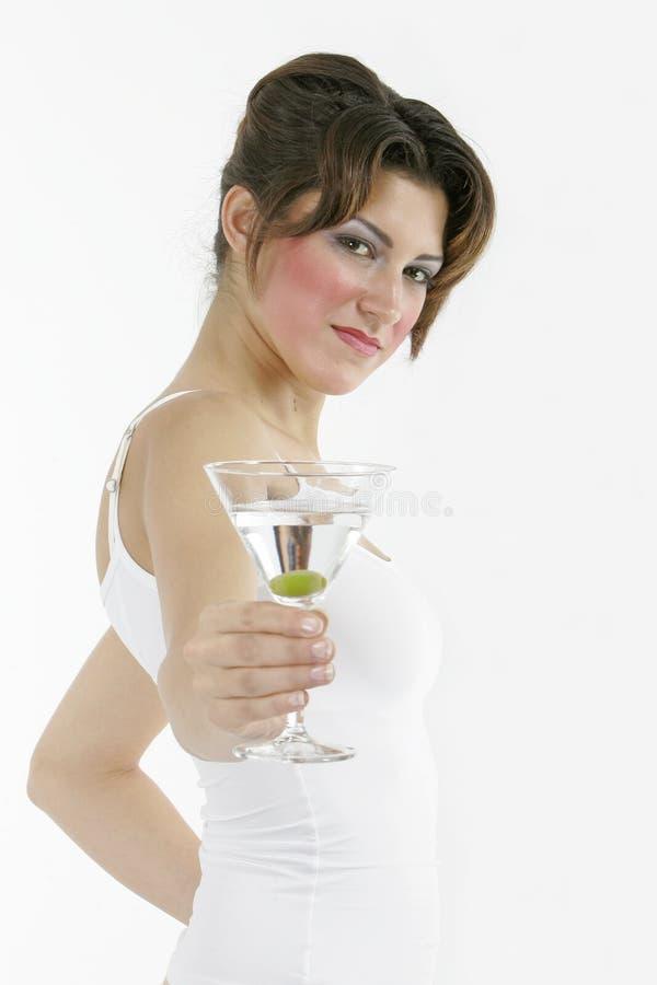 Donna in buona salute sexy con un vetro fotografie stock libere da diritti
