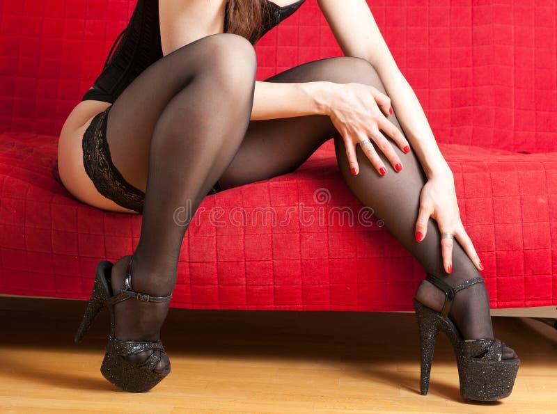 Donna in calze immagini stock libere da diritti