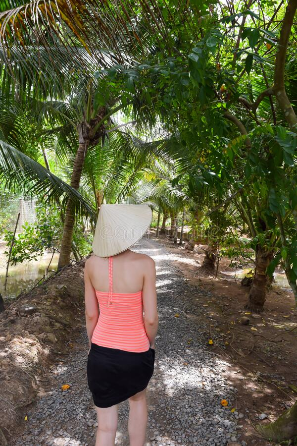 Donna cammina nelle giungle vietnamite immagine stock