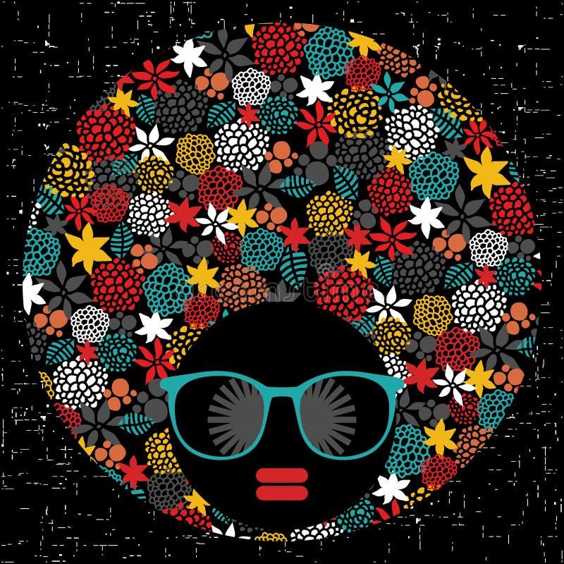 Donna capa nera con capelli sconosciuti. illustrazione di stock