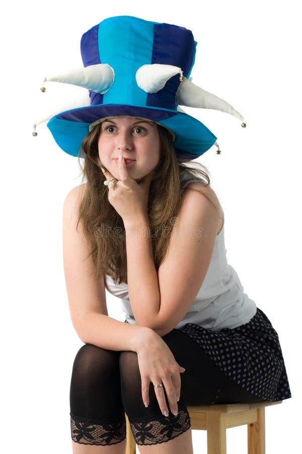 Donna in cappello divertente fotografia stock libera da diritti