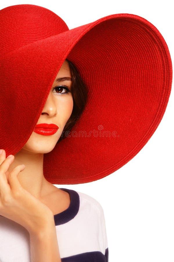 Donna in cappello rosso fotografia stock