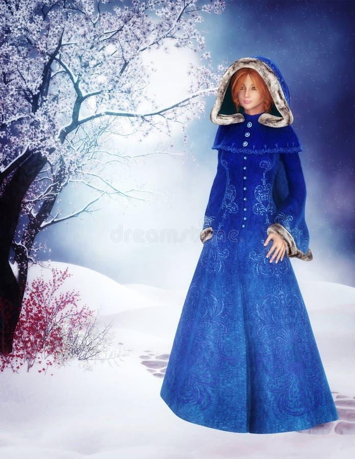 Donna in cappotto blu illustrazione di stock