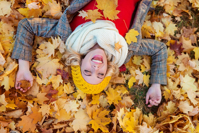 Donna in cappotto controllato che si trova nel parco di autunno immagini stock