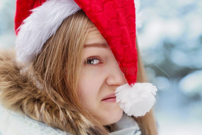 Donna in cappuccio Santa Claus immagine stock