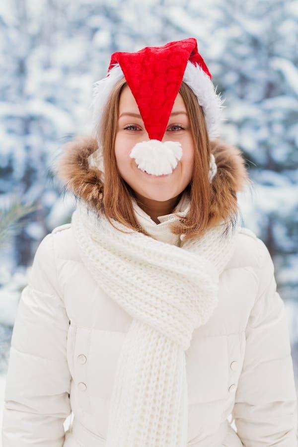 Donna in cappuccio Santa Claus fotografia stock