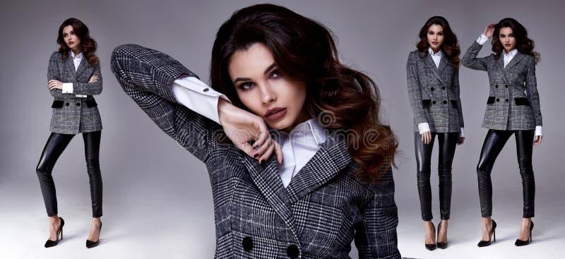Donna castana dei capelli del modello di moda abbastanza bello sexy della donna noi immagini stock