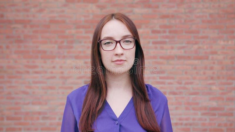 Donna castana sorridente felice contro il muro di mattoni fotografia stock