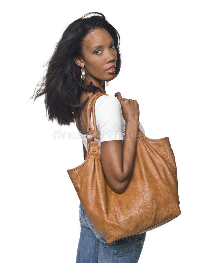 Donna casuale - borsa immagini stock libere da diritti