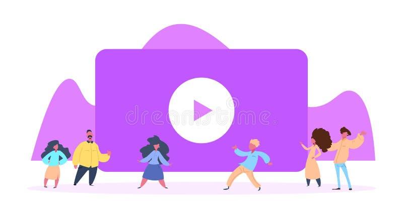 Donna casuale dell'uomo dell'interfaccia online della video corrente del lettore multimediale dell'orologio della gente che resta illustrazione vettoriale