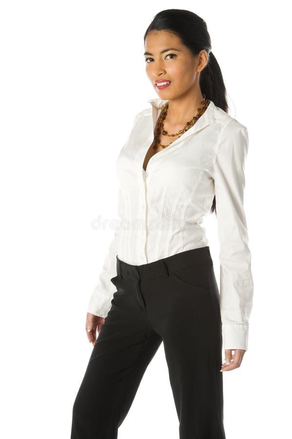 Donna casuale di affari su bianco fotografie stock