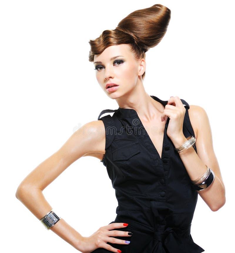 Donna caucasica alla moda immagini stock