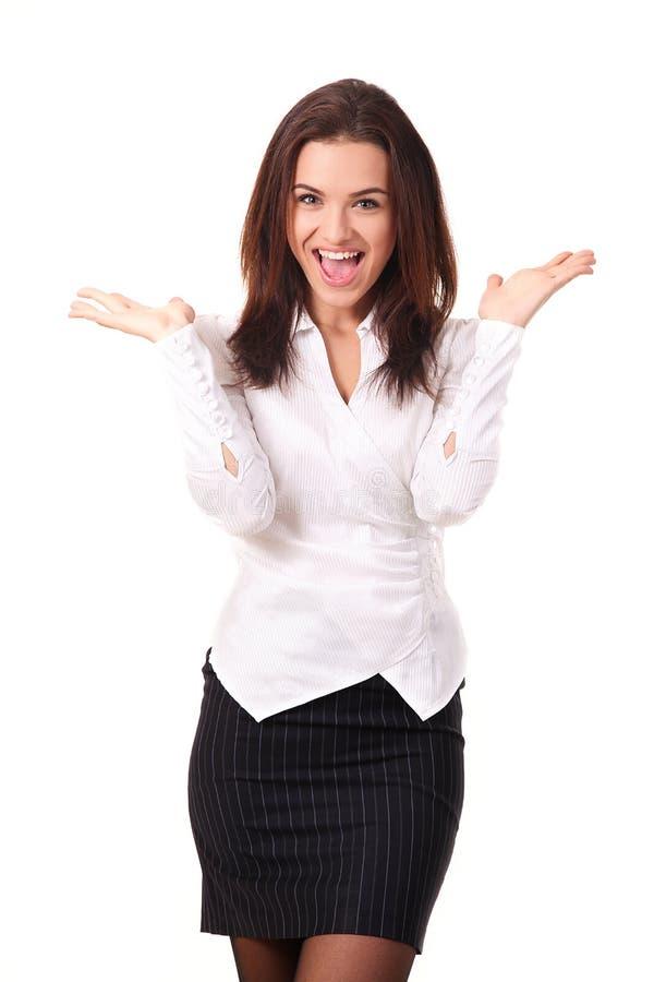 Donna caucasica felice di affari fotografie stock