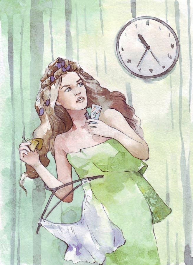 Donna che affretta con un orologio sulla parete illustrazione di stock