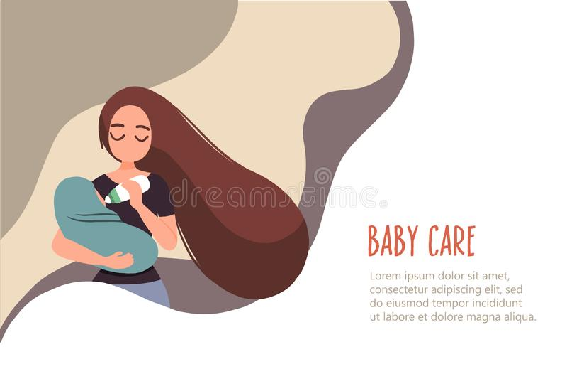 Donna 11 che alimenta il suo bambino illustrazione vettoriale