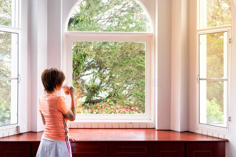 Donna che ammira alba scenica naturale dall'interno domestico con caff? immagini stock libere da diritti