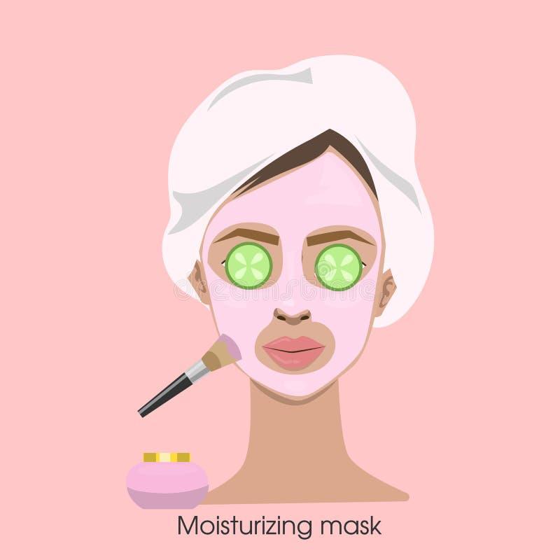 Donna che applica maschera d'idratazione illustrazione di stock