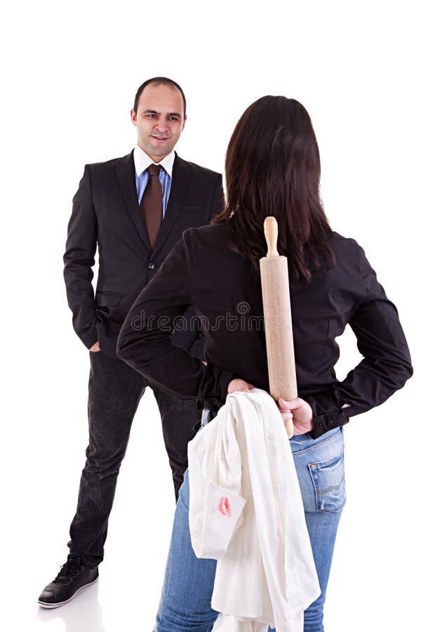 Donna che aspetta il suo marito immagini stock