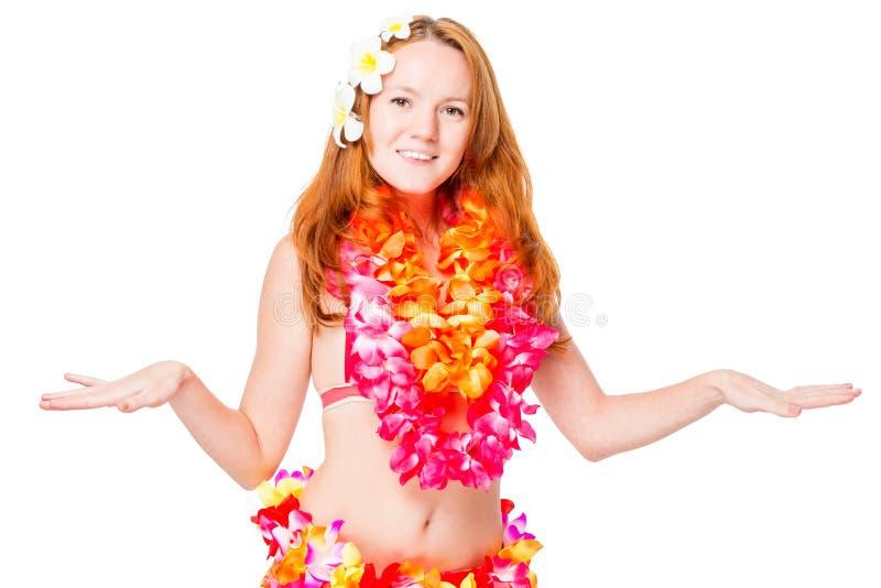 Donna che balla ballo hawaiano nazionale su bianco fotografia stock