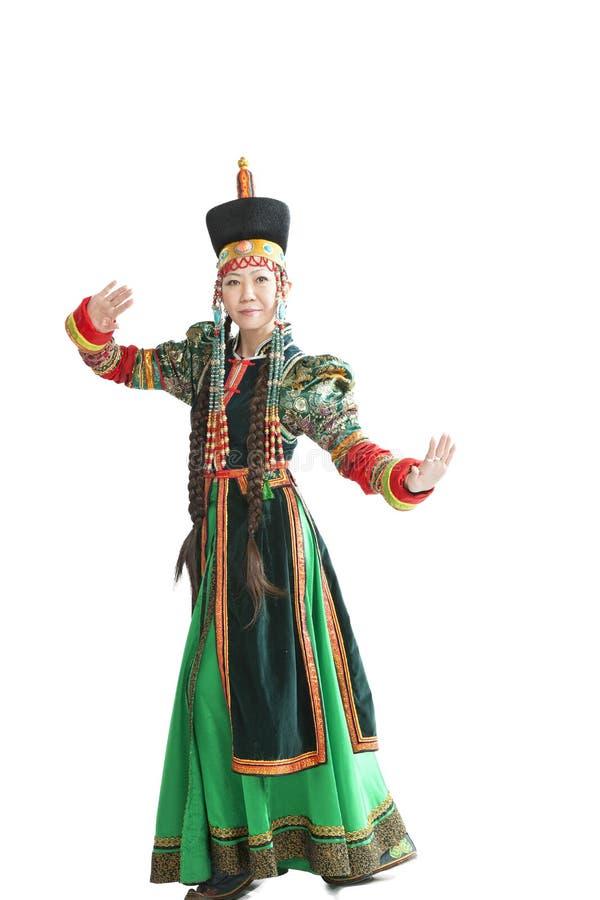 Donna che balla ballo nazionale di Buryat immagini stock libere da diritti