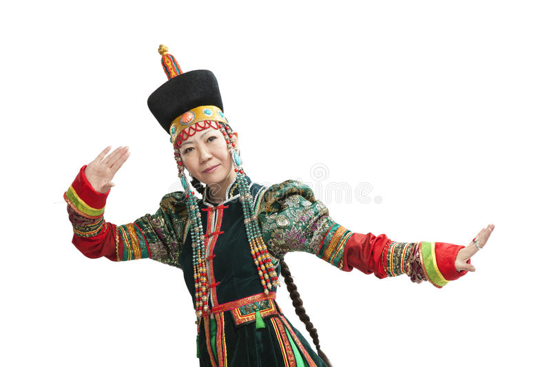 Donna che balla ballo nazionale di Buryat fotografie stock libere da diritti