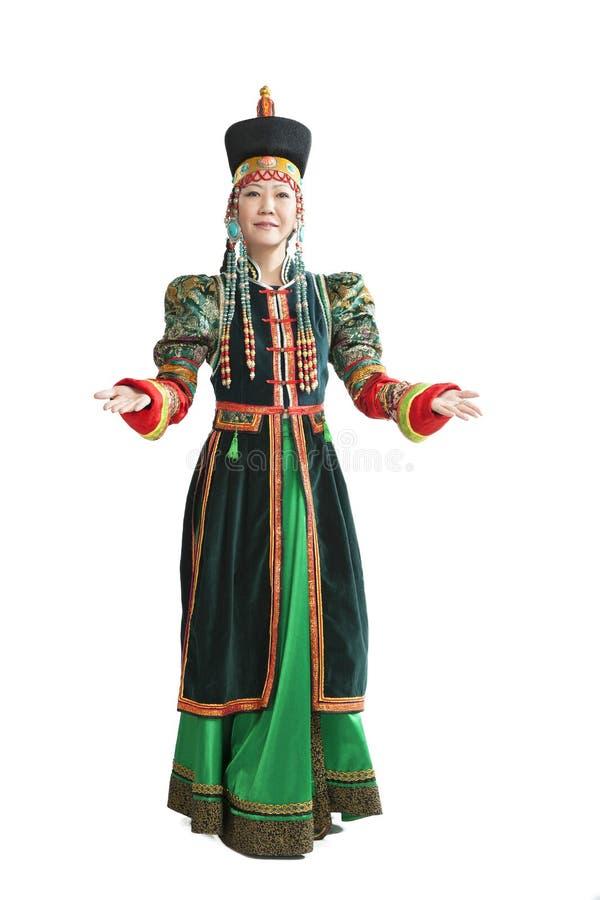 Donna che balla ballo nazionale di Buryat immagini stock