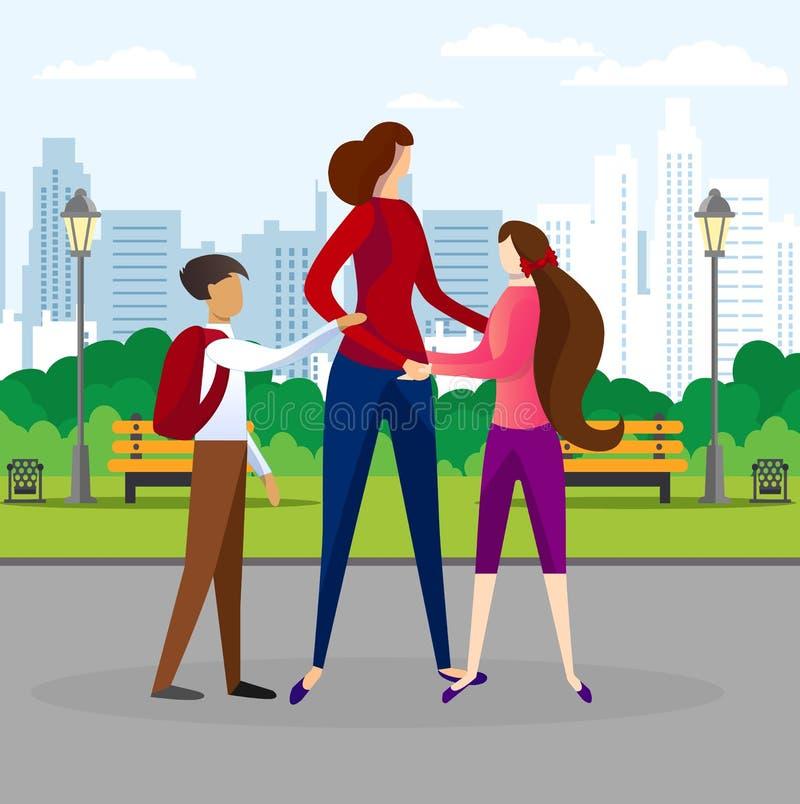 Donna che cammina con i bambini nel parco pubblico della città royalty illustrazione gratis