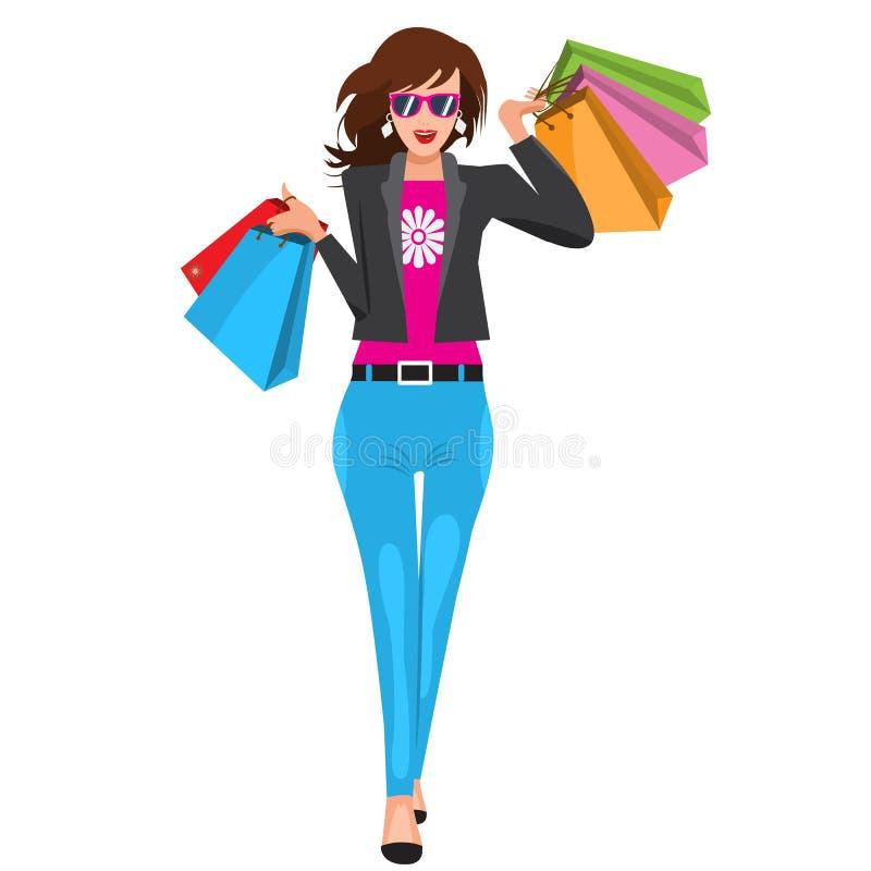 Donna che cammina con i sacchetti della spesa di carta Colori piani illustrati di vettore illustrazione vettoriale