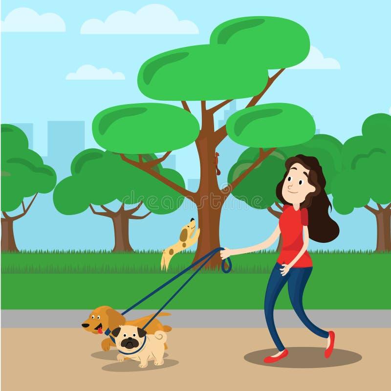 Donna che cammina con il cane due illustrazione vettoriale