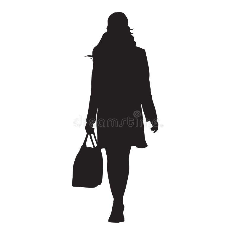 Donna che cammina con la borsa in sua mano, siluetta isolata di vettore illustrazione di stock