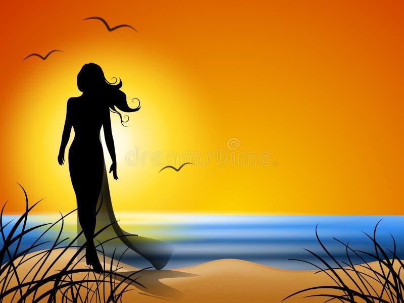 Donna che cammina da solo sulla spiaggia illustrazione vettoriale