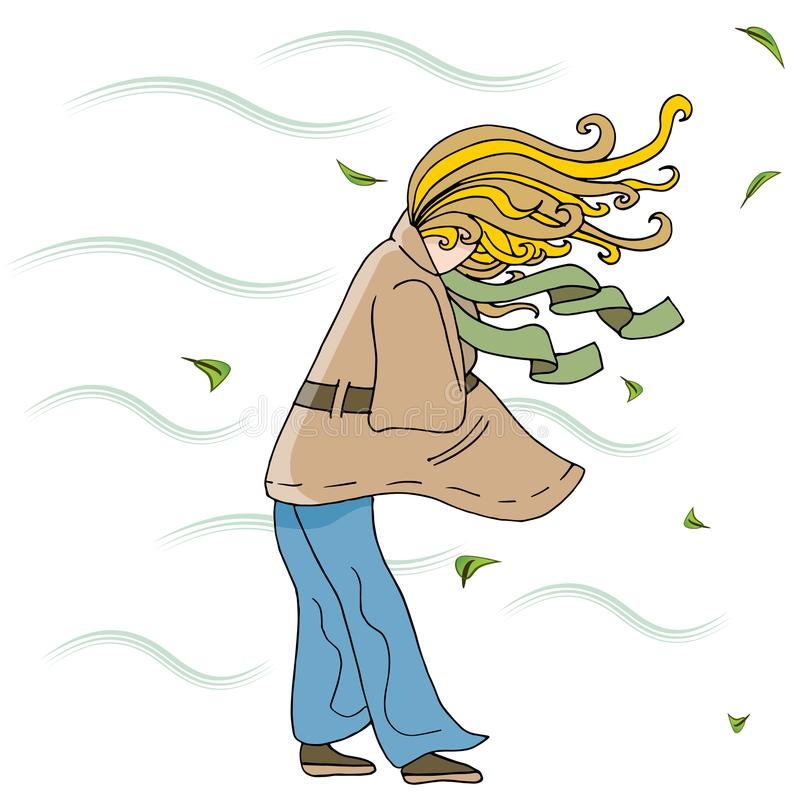 Donna che cammina fuori su Windy Day Cartoon illustrazione di stock