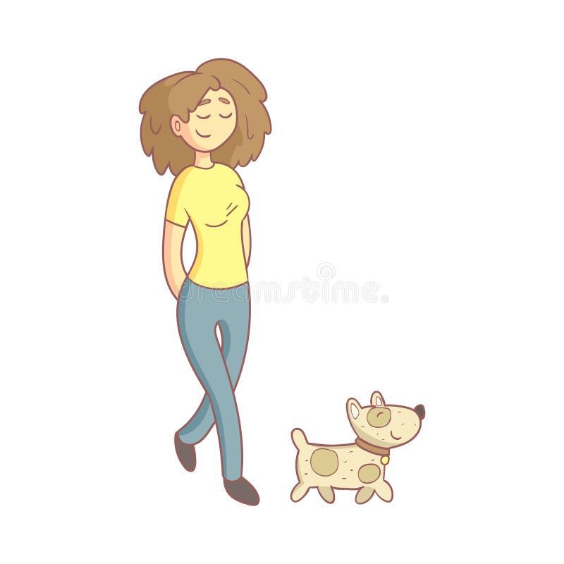 Donna che cammina il cane illustrazione vettoriale