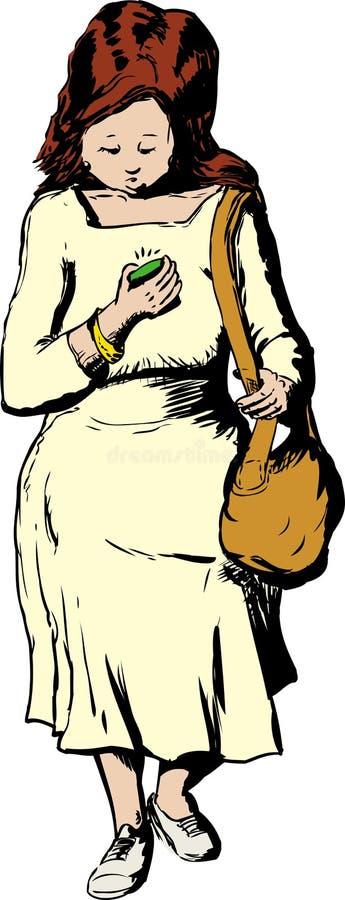 Donna che cammina a per mezzo del telefono mentre guardando giù illustrazione di stock
