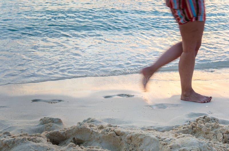 Donna che cammina su una spiaggia al tramonto fotografia stock