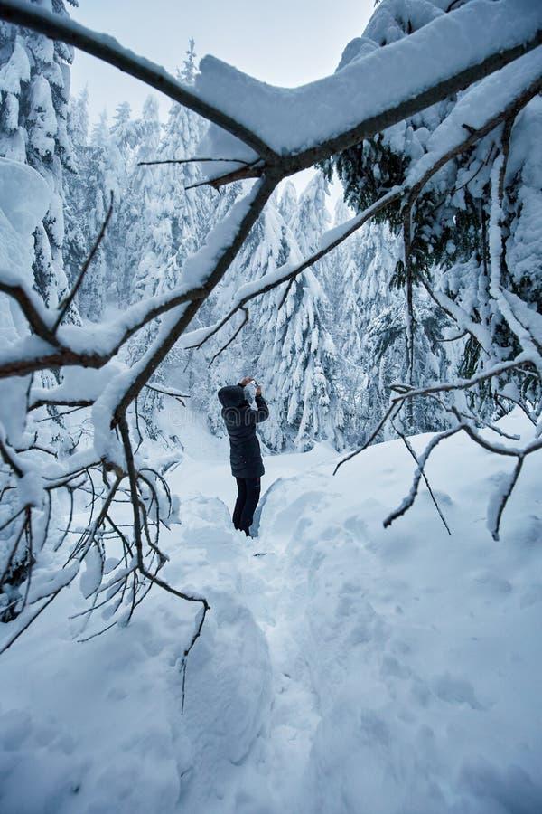 Donna che cattura le foto di inverno fotografia stock