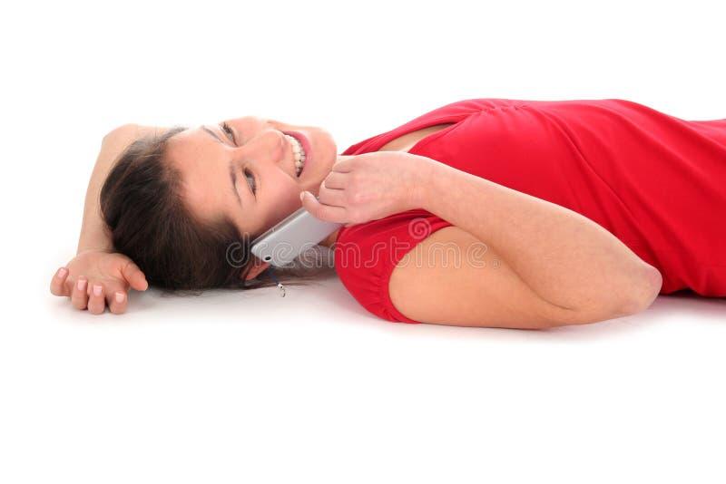 Download Donna Che Comunica Sul Telefono Fotografia Stock - Immagine di sorridere, giù: 3881028