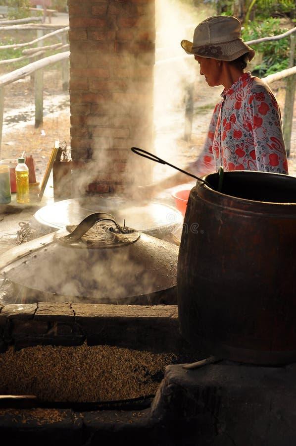 Donna che cucina la pasta del riso per produrre le tagliatelle di riso, Vietnam fotografie stock libere da diritti