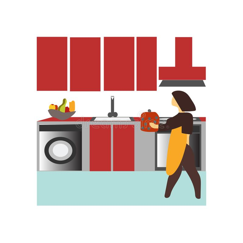 Donna che cucina nel segno e nel simbolo di vettore di vettore della cucina isolati su fondo bianco, donna che cucina nel logo di royalty illustrazione gratis