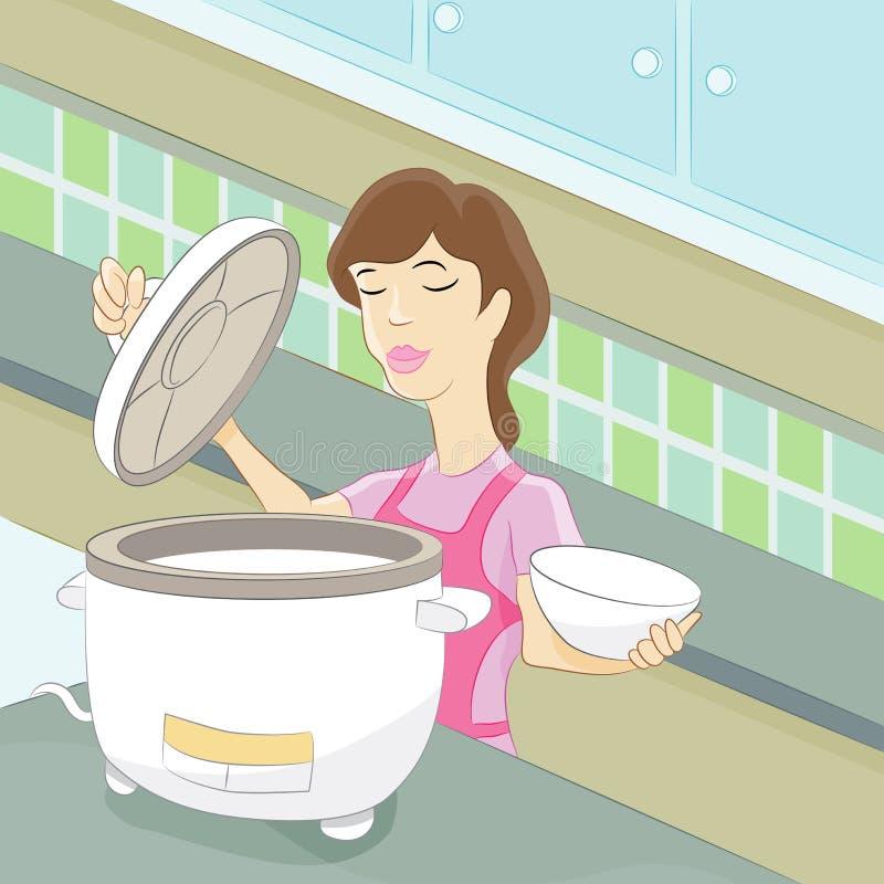 Donna che cucina riso illustrazione di stock