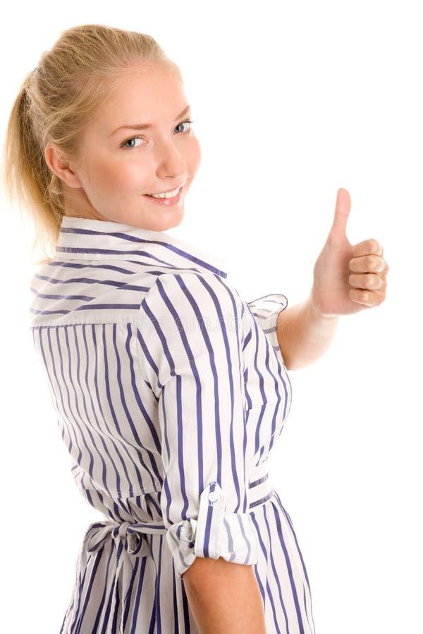 Donna che dà i pollici in su fotografie stock libere da diritti
