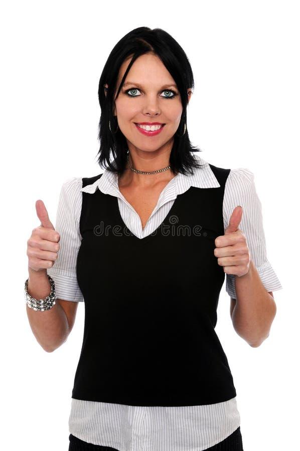 Donna che dà i pollici in su immagini stock