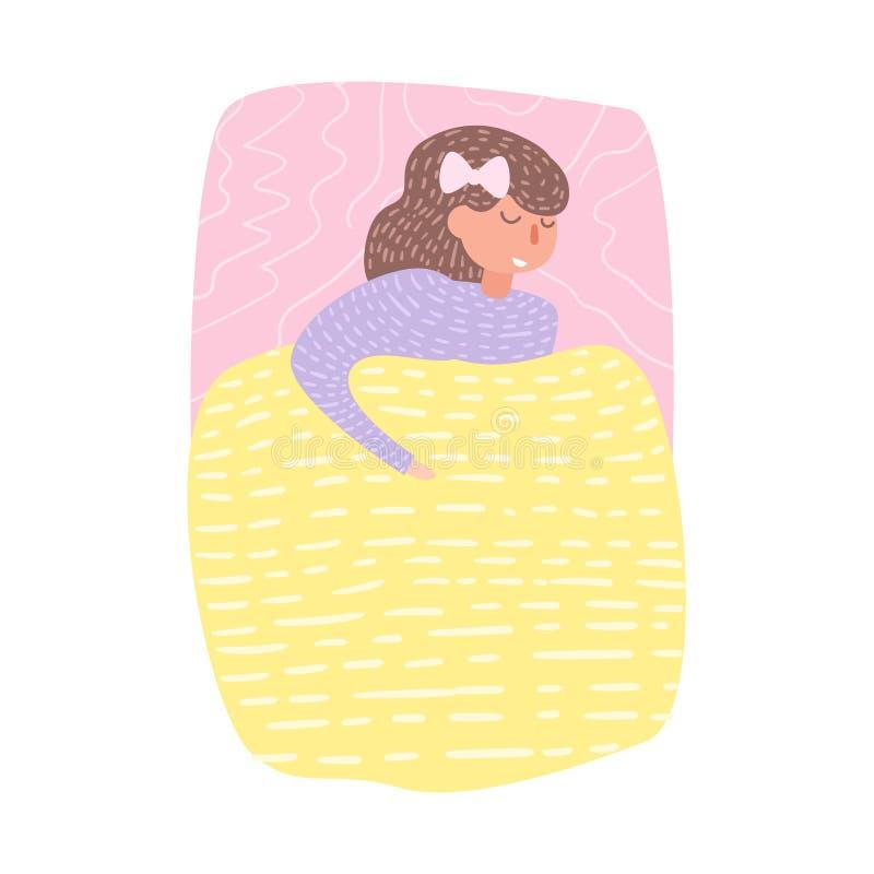 Donna che dorme a letto vettore fumetto Arte isolata su fondo bianco illustrazione di stock