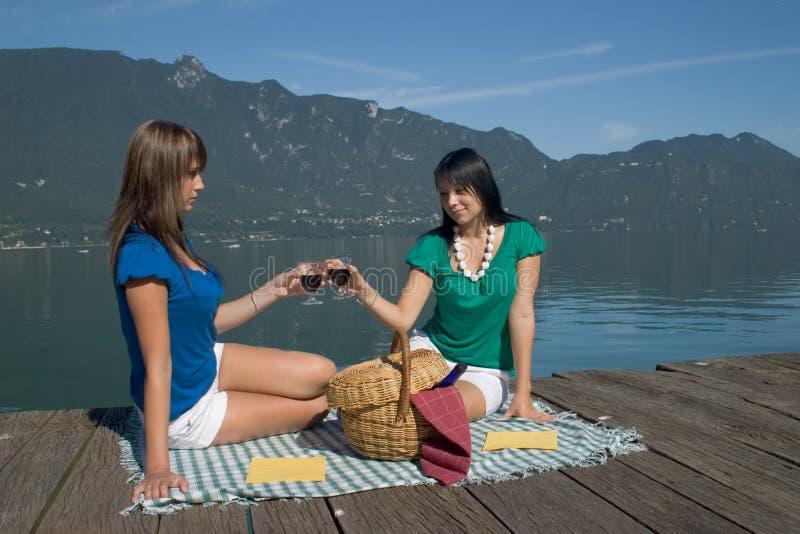 Donna che driking un certo vino immagini stock