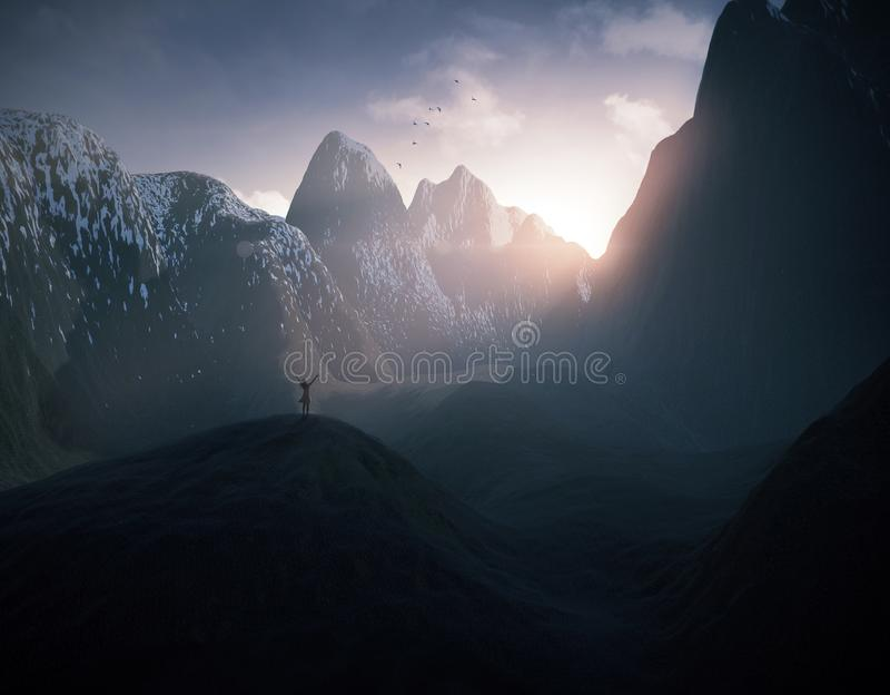 Donna che elogia nelle montagne fotografie stock