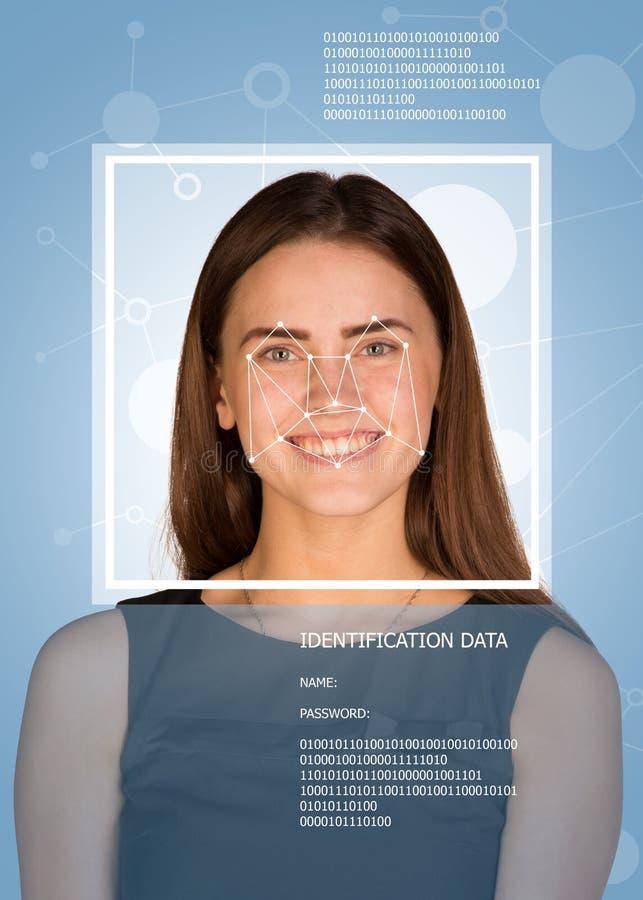 Concetto di identificazione di persone Donna che esamina immagini stock libere da diritti