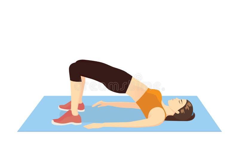 Donna che fa esercizio con l'ascensore dell'anca per il consolidamento del suo corpo royalty illustrazione gratis