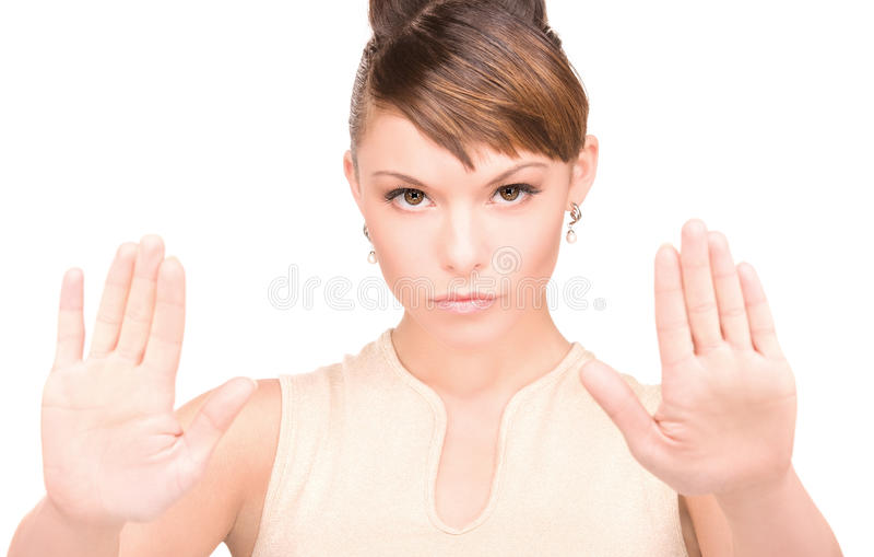 Donna che fa gesto di arresto immagini stock