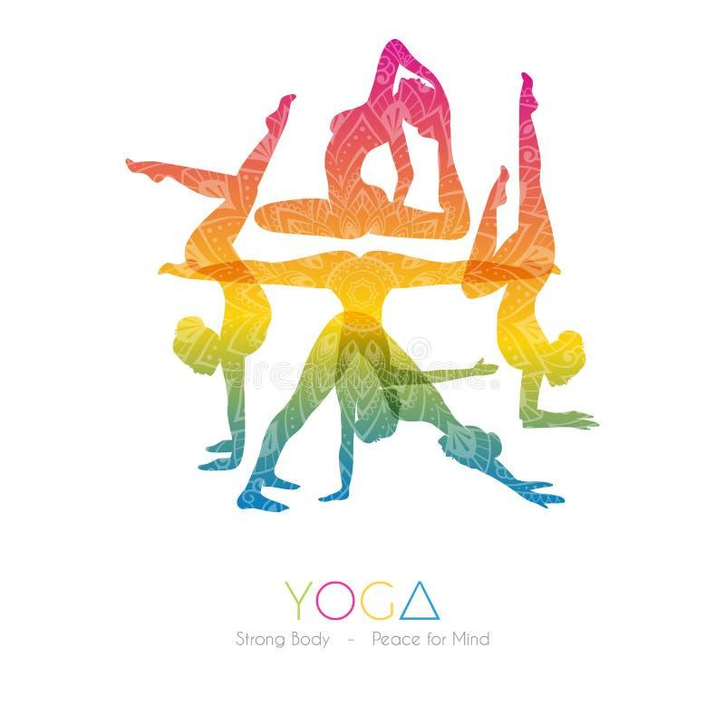 Donna che fa i asanas di yoga illustrazione vettoriale